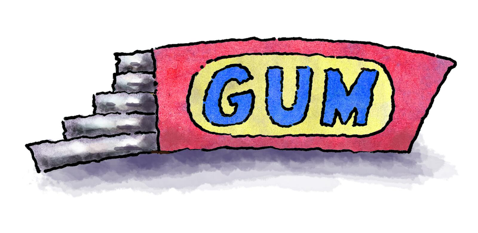 Chewing gum. Isolated cartoon illustration of a package of chewing gum vector illustration