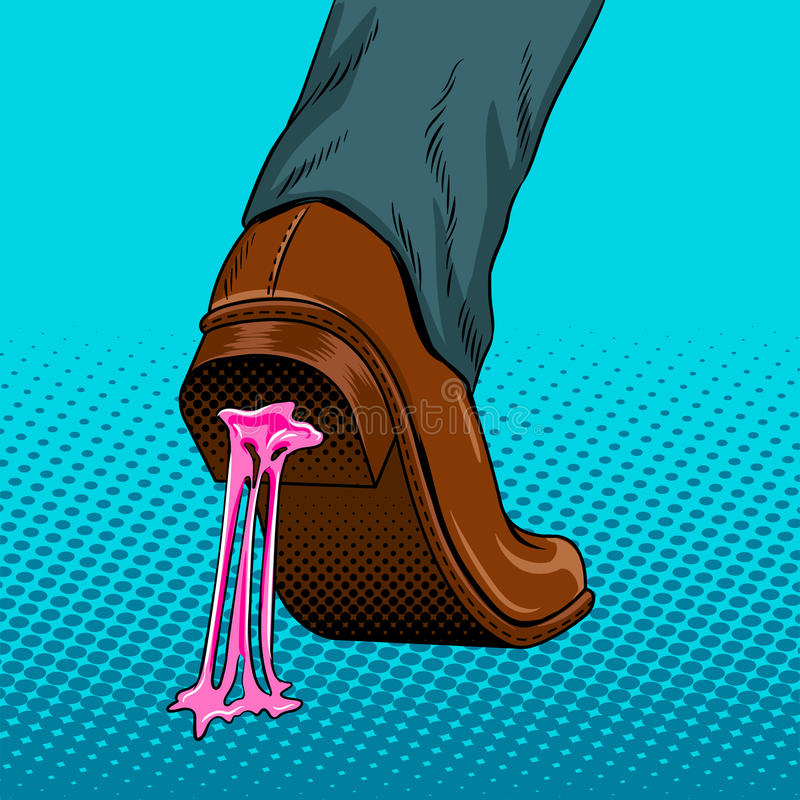 Chewing gum stuck to the shoe pop art vector. Chewing gum stuck to the shoe pop art style vector illustration. Comic book style imitation stock illustration