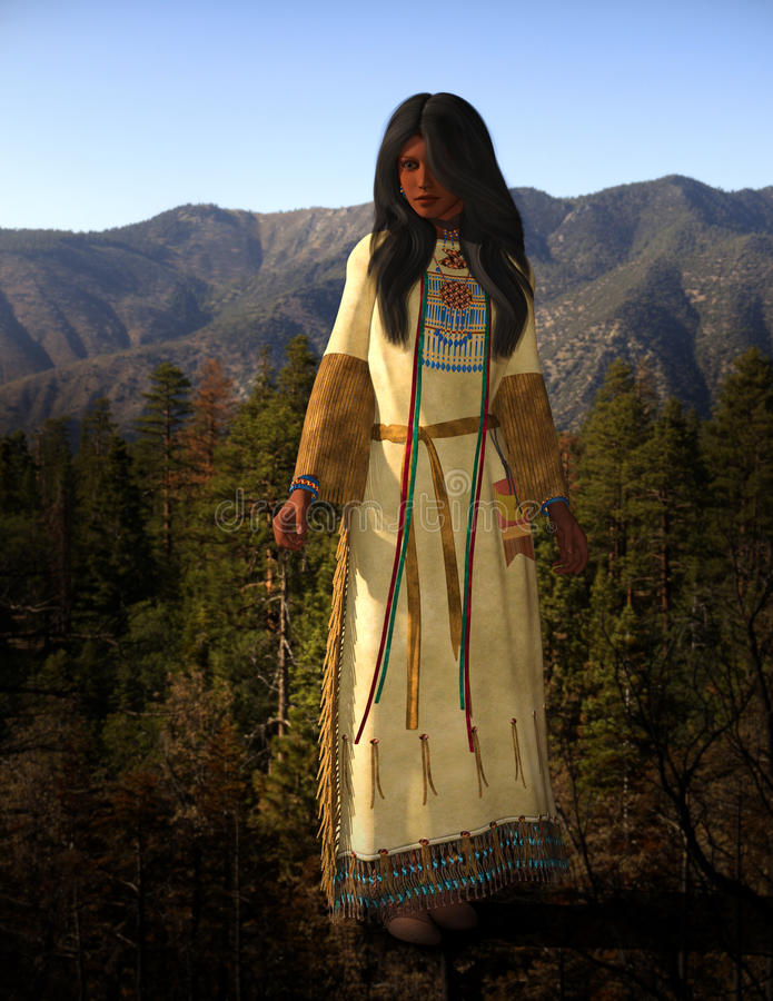 Cheyenne American Indian Woman Illustration. Illustration of a beautiful and pretty native American Indian woman. The female is dressed in traditional clothes stock photo