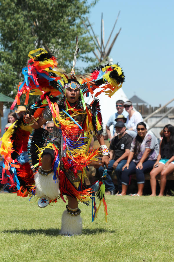 Cheyenne Frontier Days 2013. A Native American dancer during the powwow in Indian Village, Cheyenne Frontier Days, 2013 stock photo