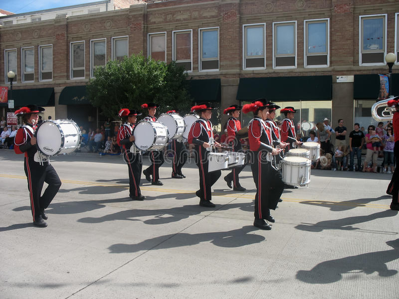 Cheyenne, Wyoming, de V.S. - 27 Juli, 2010: Parade in Cheyenne van de binnenstad, Wyoming, tijdens de jaarlijkse Grensdagen stock afbeelding
