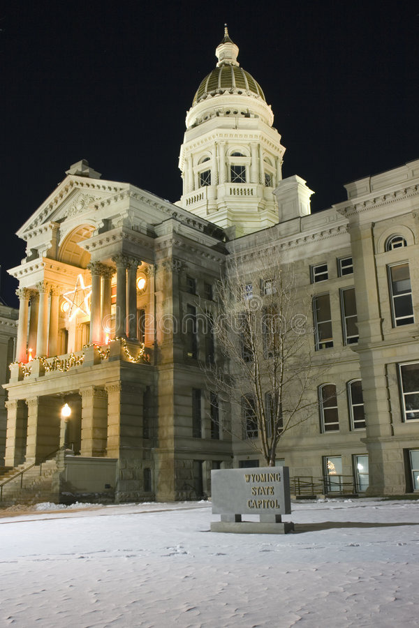 Cheyenne, Wyoming - State Capitol. Night time royalty free stock photos