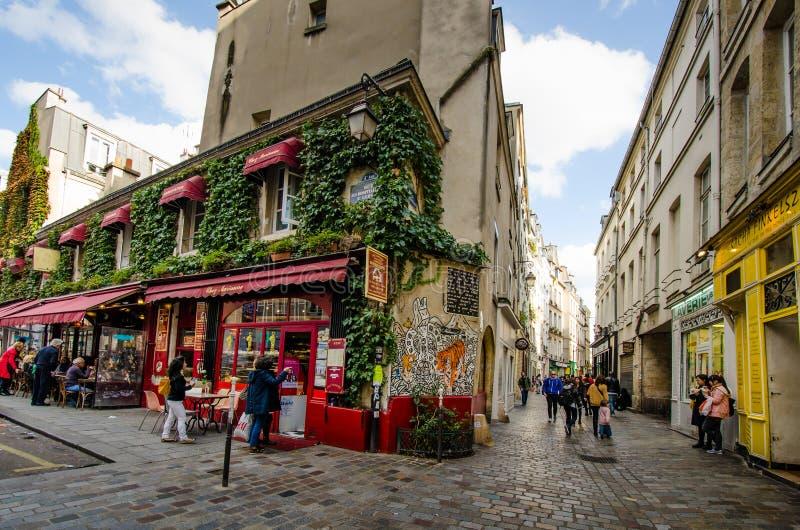 Chez玛丽安餐馆在马瑞斯,巴黎历史的区  图库摄影