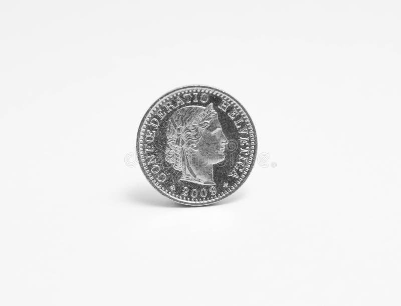 CHF för schweizisk franccentcentime som isoleras på vit arkivfoton