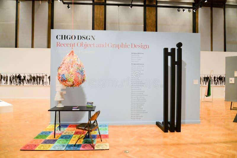 CHGO DSGN, uma exposição principal do objeto recente e projeto gráfico fotos de stock royalty free