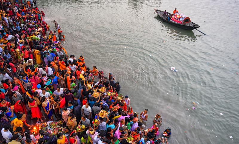 Chhat Festival. Hindu devotees are performing ritual on the occasion of Chhat puja at the river bank of Ganga , on November 13 . 2018 . Making fast for the whole royalty free stock image