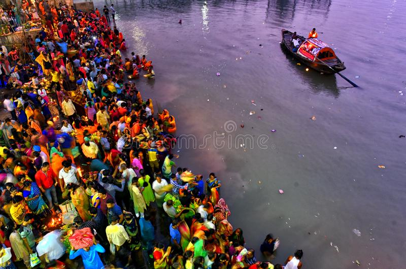 Chhat Festival. Hindu devotees are performing ritual on the occasion of Chhat puja at the river bank of Ganga , on November 13 . 2018 . Making fast for the whole stock photography