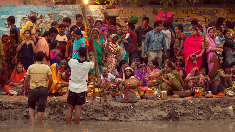 Chhath festival. People performing rituals during Chhath puja, the festival to worship Sun god in India royalty free stock images