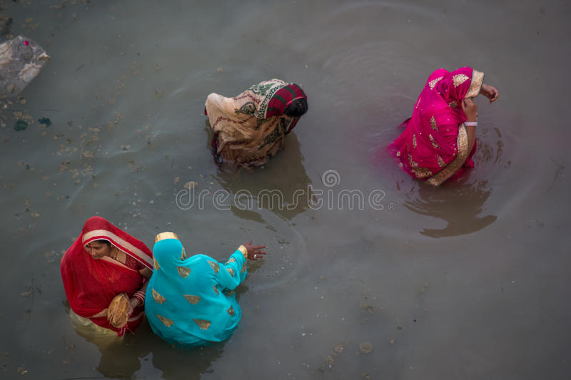 Chhath Puja Ganges India arkivfoton