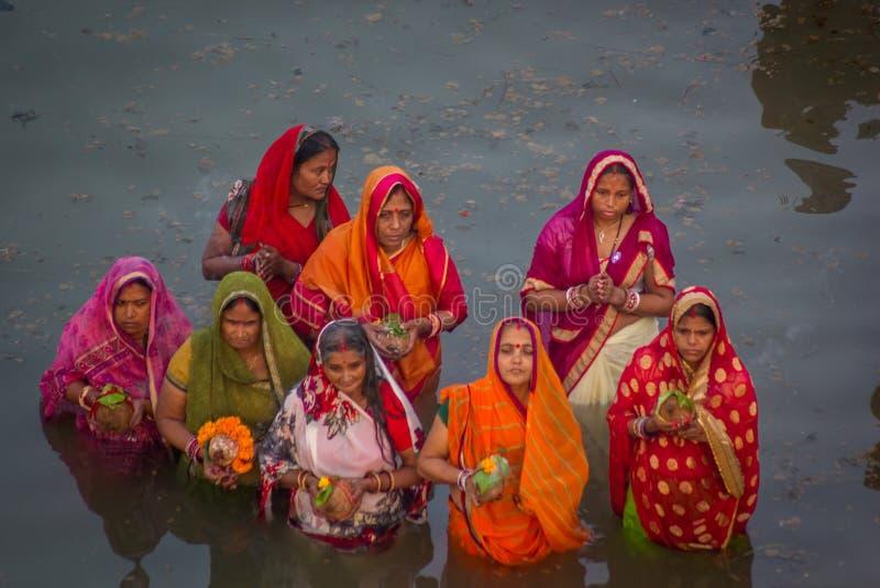 Chhath Puja Ganges India fotografie stock libere da diritti