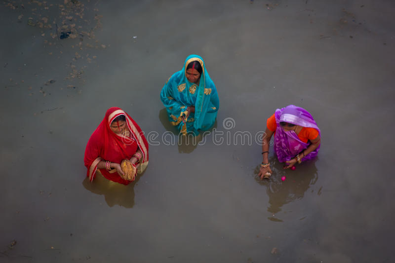 Chhath Puja Ganges India image stock