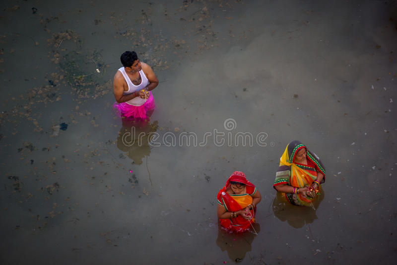 Chhath Puja Ganges India immagini stock libere da diritti