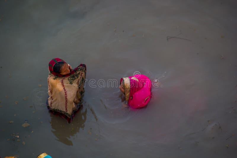Chhath Puja Ganges India immagine stock libera da diritti