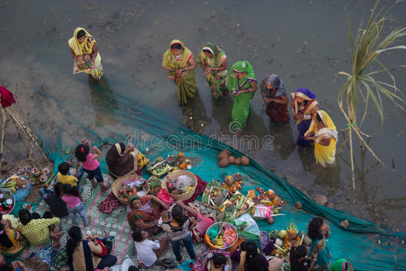 Chhath Puja Ganges India photographie stock