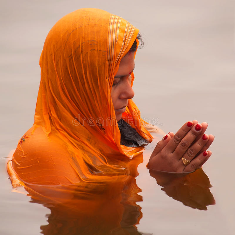 Chhath Puja(Worship to Sun). On the fourth day of Shukla Paksha of Kartik, lakhs of devotees along the Indo-Gangetic plains, chiefly Bihar and eastern Uttar stock images