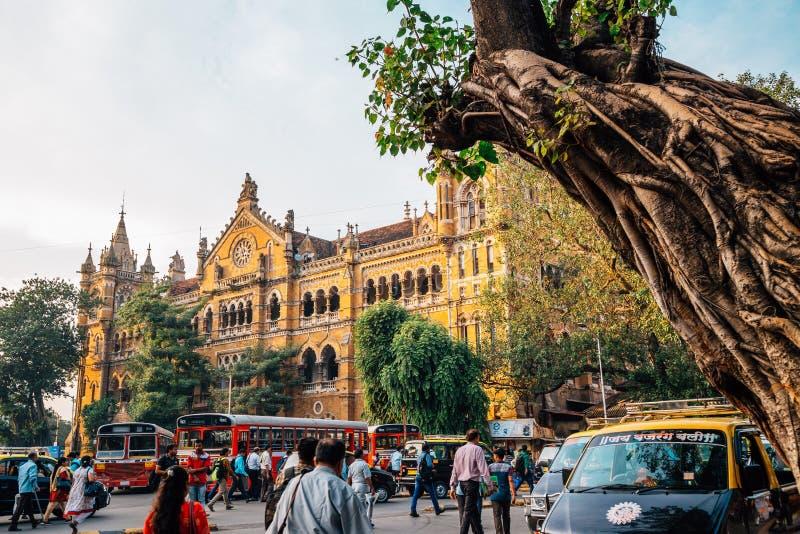 Chhatrapati Shivaji马哈拉杰终点,火车站在孟买,印度 免版税图库摄影