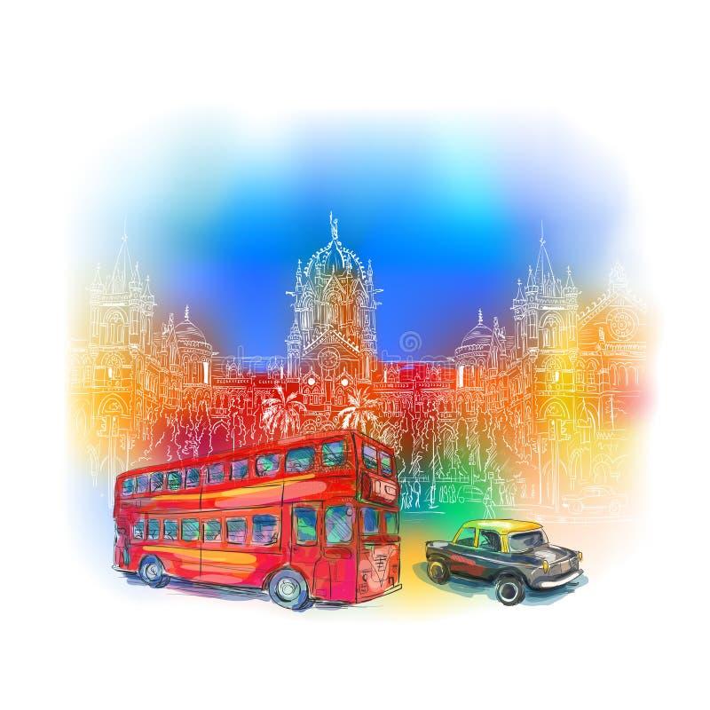 Chhatrapati Shivaji Mumbai royalty free illustration