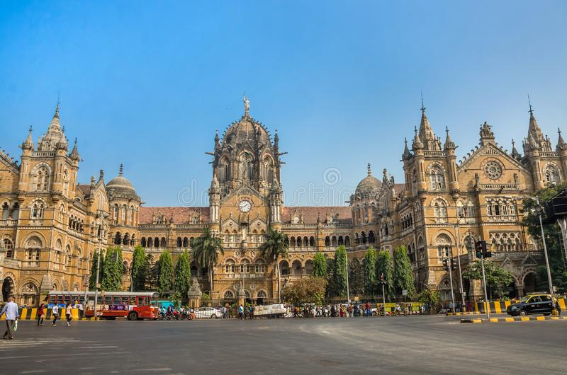 Chhatrapati Shivaji Terminus railway station or Victoria Terminus in Mumbai stock photography