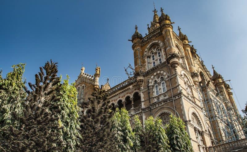 Chhatrapati Shivaji Terminus vroeger Victoria Terminus een historisch station en een Unesco-Plaats van de Werelderfenis in Mumbai stock afbeeldingen