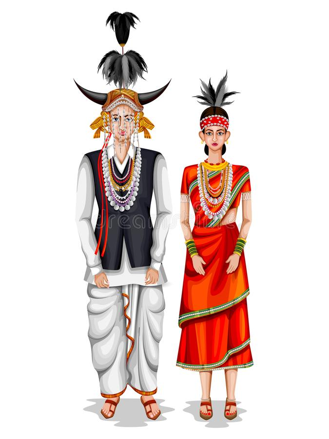 Chhattisgarhi在恰蒂斯加尔邦,印度传统服装的婚礼夫妇  库存例证