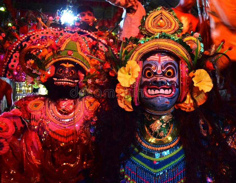 Chhau face mask. Chhau dance is very famous in India for it`s beautiful dress up. I used my nikon 3300 camera with 18-55mm lens for capturing the photo stock photo