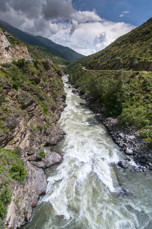 Chhuzom、Paro Chhu的合流和Wang Chhu,廷布不丹 免版税库存照片