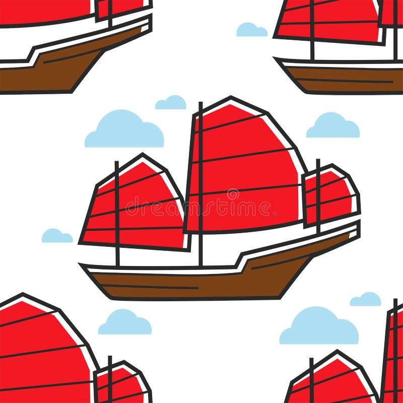 Chiński bezszwowy deseniowy żaglówki lub dżonki statku żołnierz piechoty morskiej naczynie ilustracji