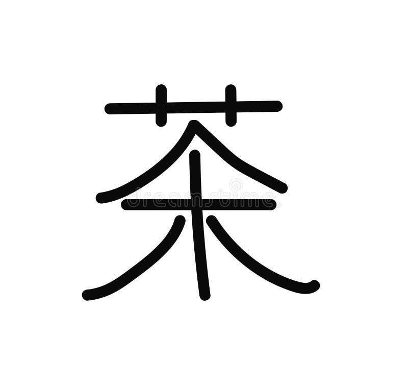 Chiński charakter z znaczenie herbatą, wektorowa ilustracja ilustracji