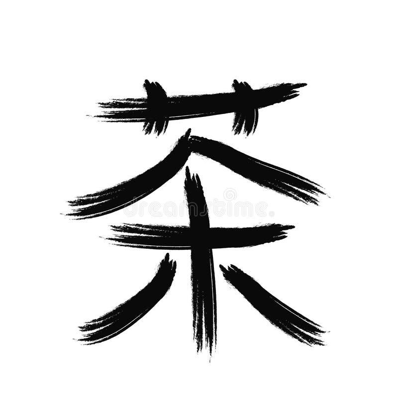 Chiński charakter z znaczenie herbatą, wektorowa ilustracja ilustracja wektor