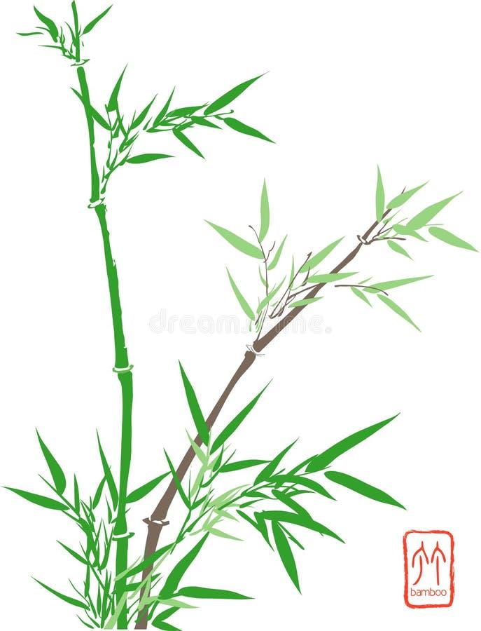 chińczycy bambusowy ilustracji