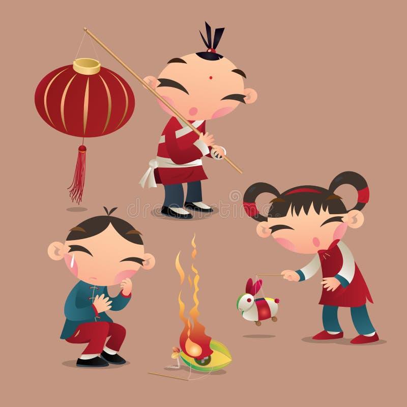 Chińczyków dzieciaki bawić się z ich lampionami ilustracji