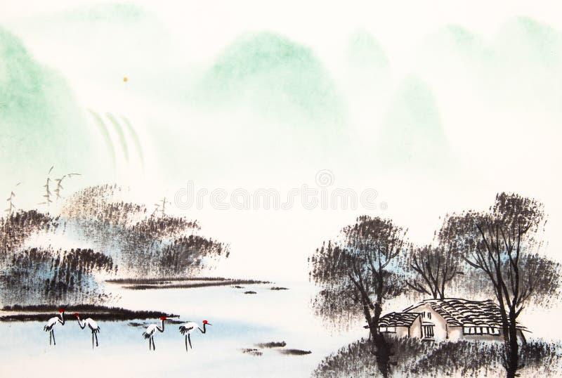 Chińczyk akwareli krajobrazowy obraz royalty ilustracja