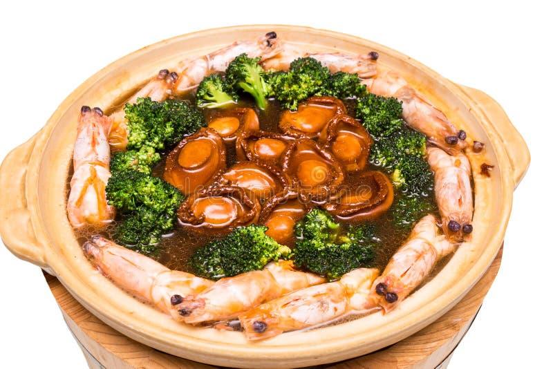 Chińczyk braised Abalone, krewetka Mieszający naczynie zdjęcia stock