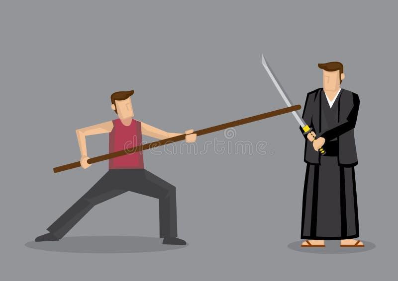 Chińczyk Kungfu Versus japończyka Kendo sztuki samoobrony Zaciera się Vecto royalty ilustracja
