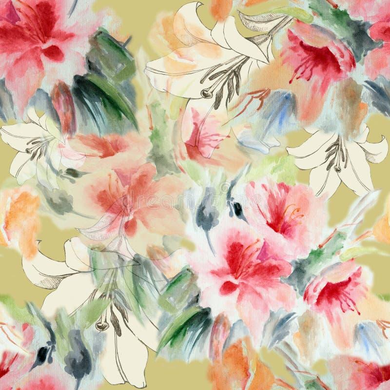Chińczyk róża i kwiat leluja, akwarela, deseniowy bezszwowy royalty ilustracja