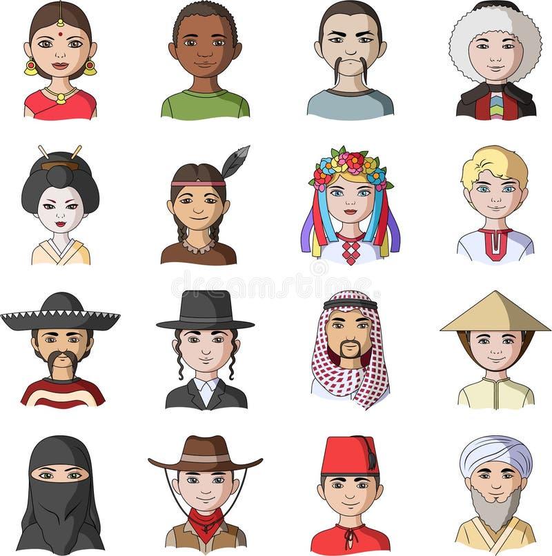 Chińczyk, rosjanin, amerykanin, arab, hindus, turczynka i inny, ścigamy się Ras ludzkich ustalone inkasowe ikony w kreskówce proj ilustracji