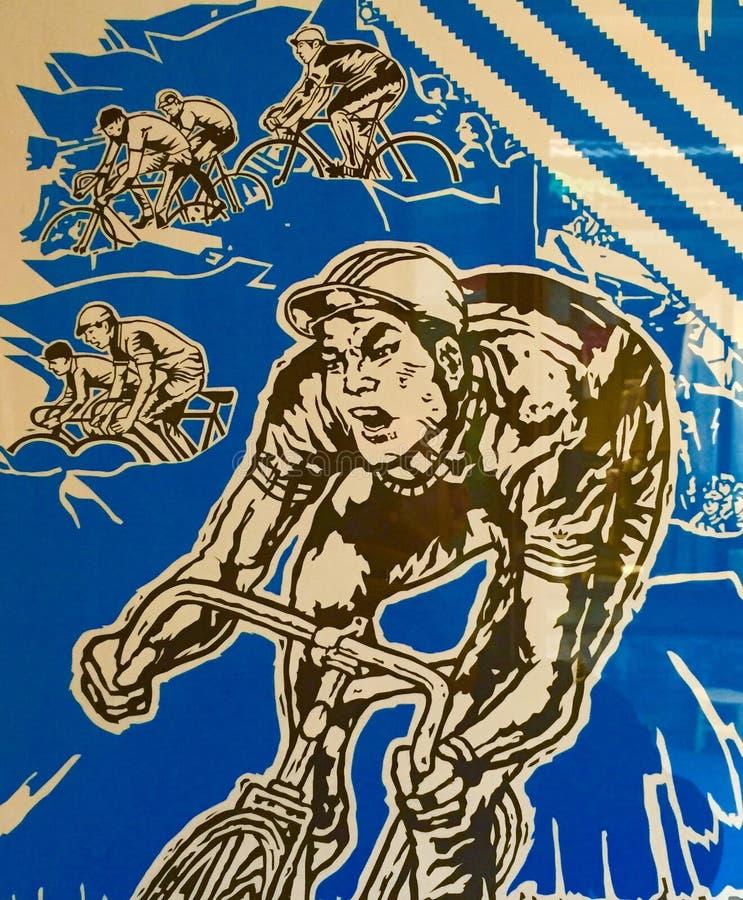 Chińczyka Fixie Rowerowej rasy plakat - Pekin 2014 zdjęcie stock