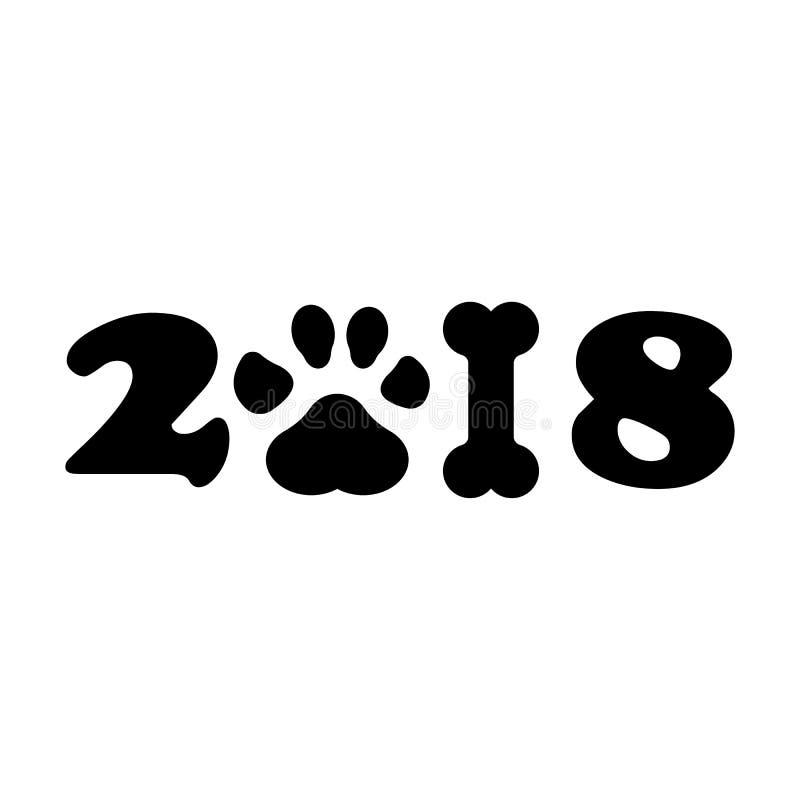Chińczyka kalendarz dla nowego roku pies 2018 Łapa druk również zwrócić corel ilustracji wektora ilustracja wektor