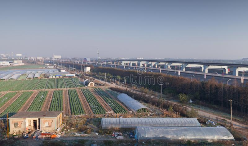 Chińczyka krajobraz, pola blisko Szanghaj zdjęcie stock