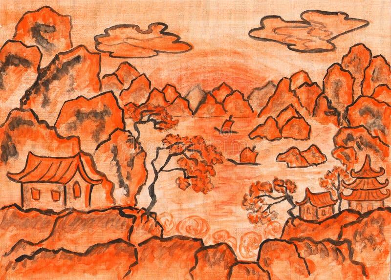 Chińczyka krajobraz w pomarańcze, maluje ilustracja wektor