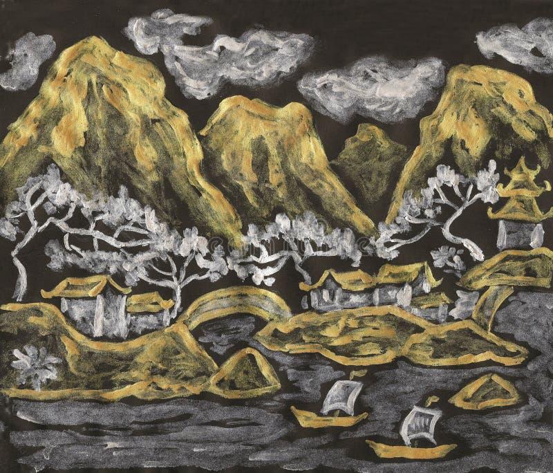Chińczyka krajobraz w złotym i srebnym, malujący ilustracji