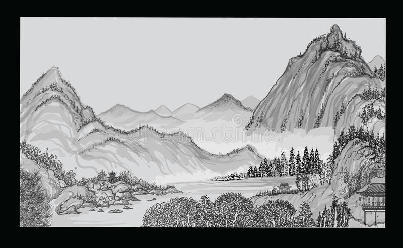 Chińczyka krajobraz z górą i chmurami ilustracja wektor