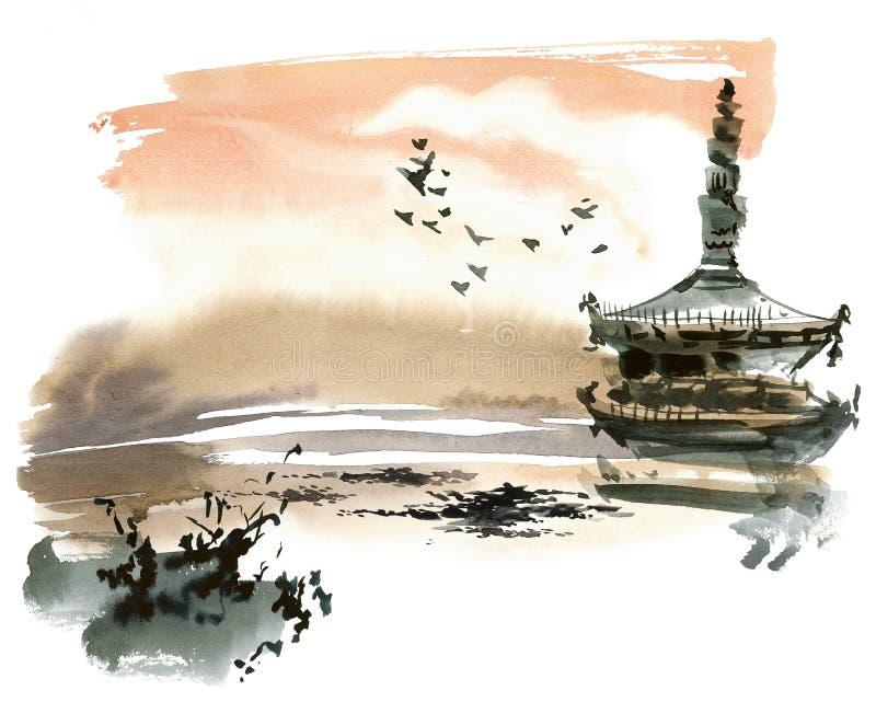 Chińczyka krajobraz z pagodą royalty ilustracja