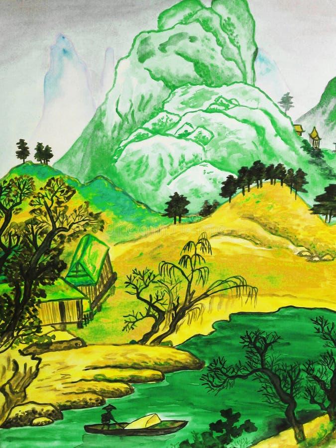 Chińczyka krajobrazowy zielonożółty ilustracji