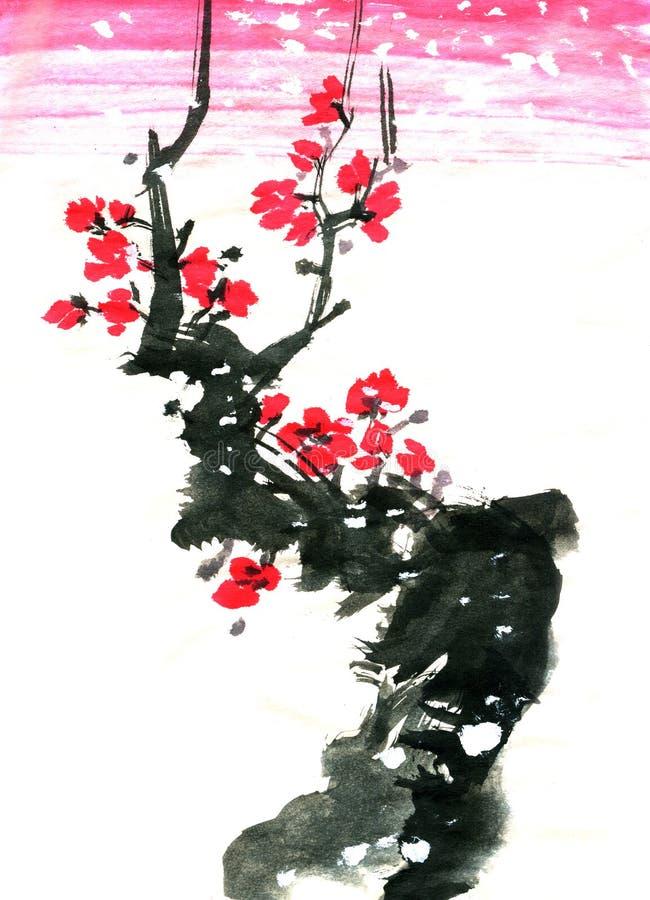 Chińczyka Sakura Japońskiej śliwki okwitnięcia grunge wiosny sumi-e ilustracji