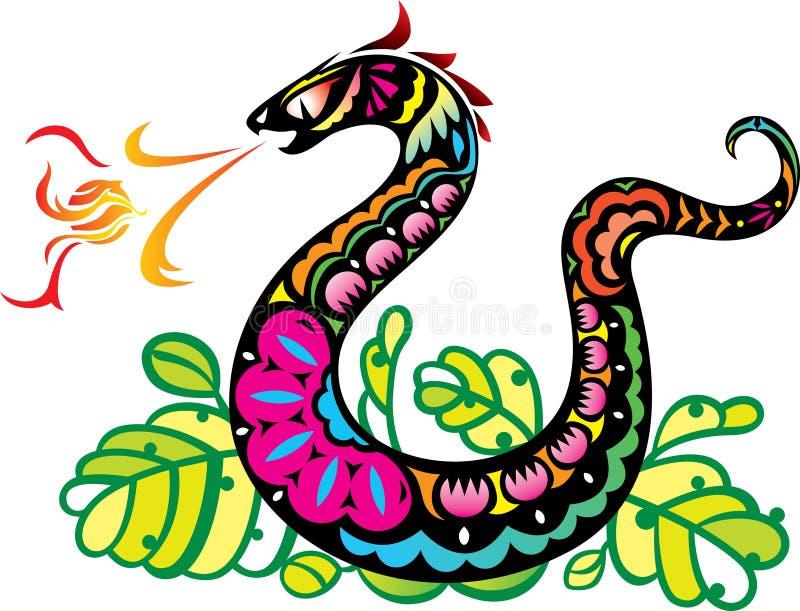 Chińczyka Stylu Węża Oddychania Kuli Ognistej Sztuka ilustracja wektor