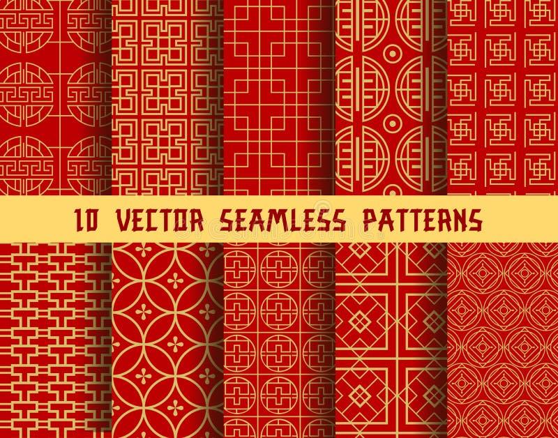 Chińscy czerwoni złoci wektorowi Azjatyccy orientalni wzory royalty ilustracja