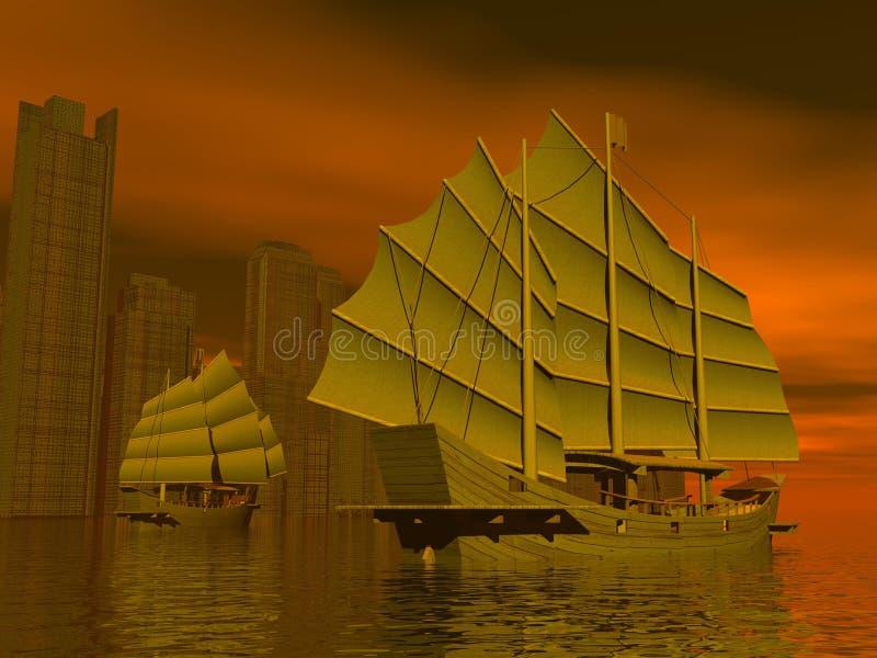 Chińscy dżonka statki - 3D odpłacają się royalty ilustracja