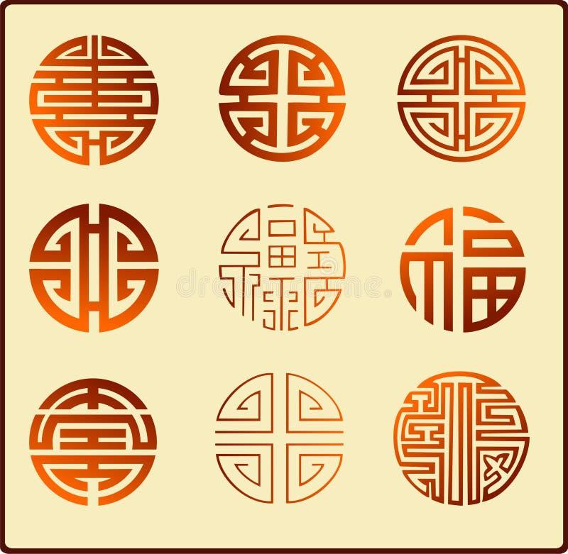 chińscy graficzni symbole royalty ilustracja