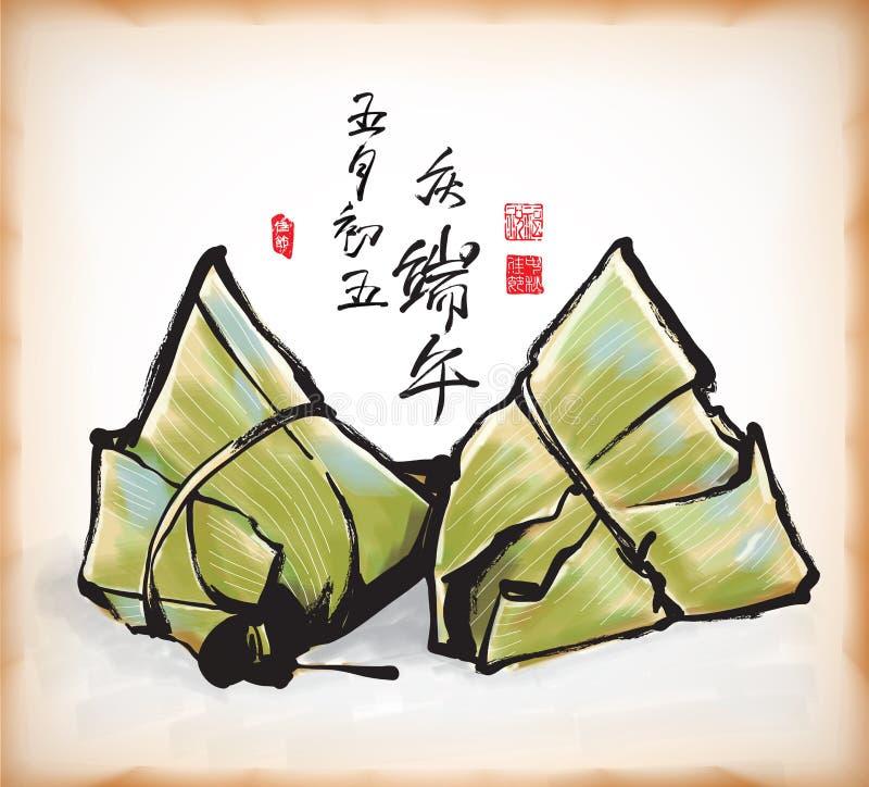 chińscy kluchy atramentu obrazu ryż royalty ilustracja